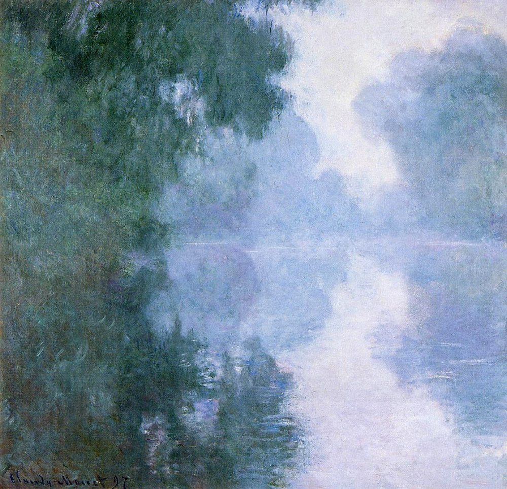 The seine at giverny morning mists by claude monet