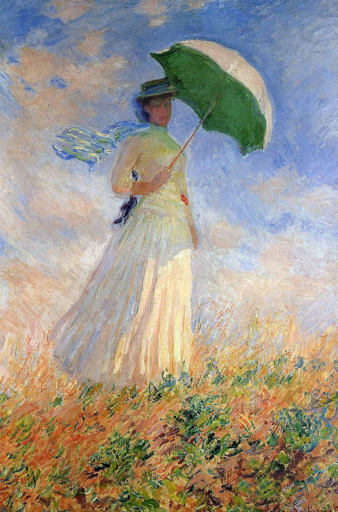 "monet""woman with a parasol"" famous painting umbrella 